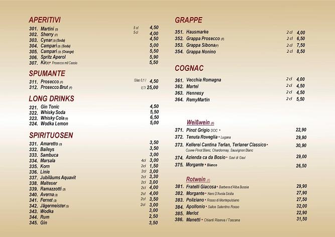 Getränkekarte Spirituosen und Weinkarte | Ristorante La Stradar