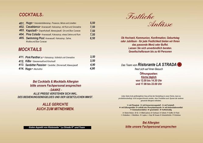 Getränkekarte Cocktails und Alkohlfreies | Ristorante La Stradar
