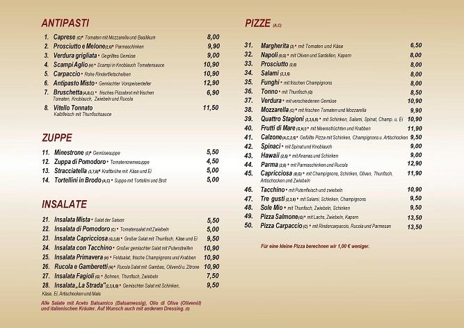 Speisekarte Vorspeise und Pizza Ristorante La Stradar