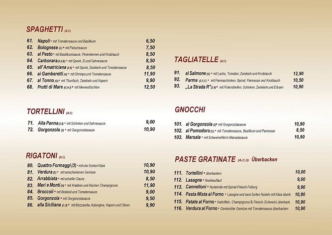 Speisekarte Pasta Gerichte | Ristorante La Stradar